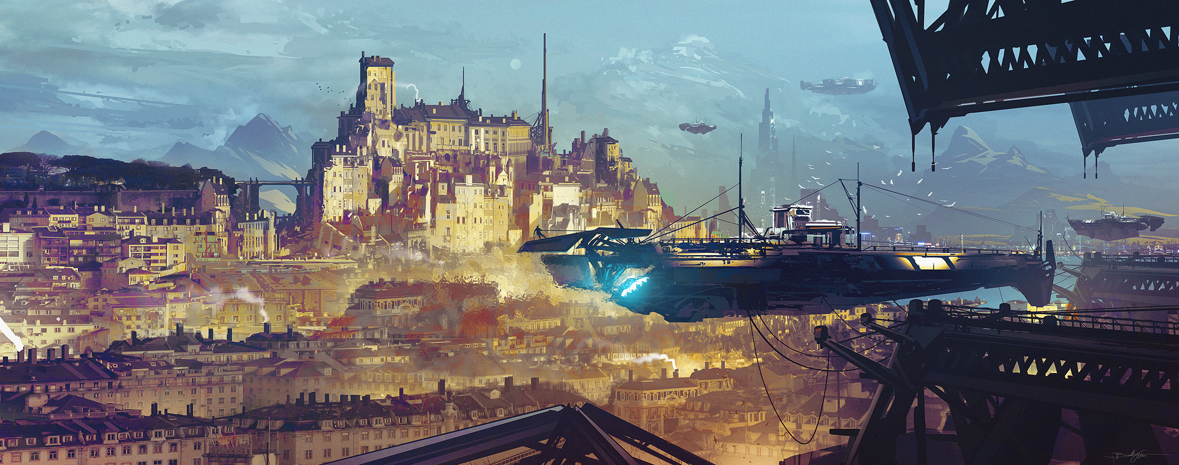 city port SF hover Fähre steampunk /  Quick Stop by Grivetart