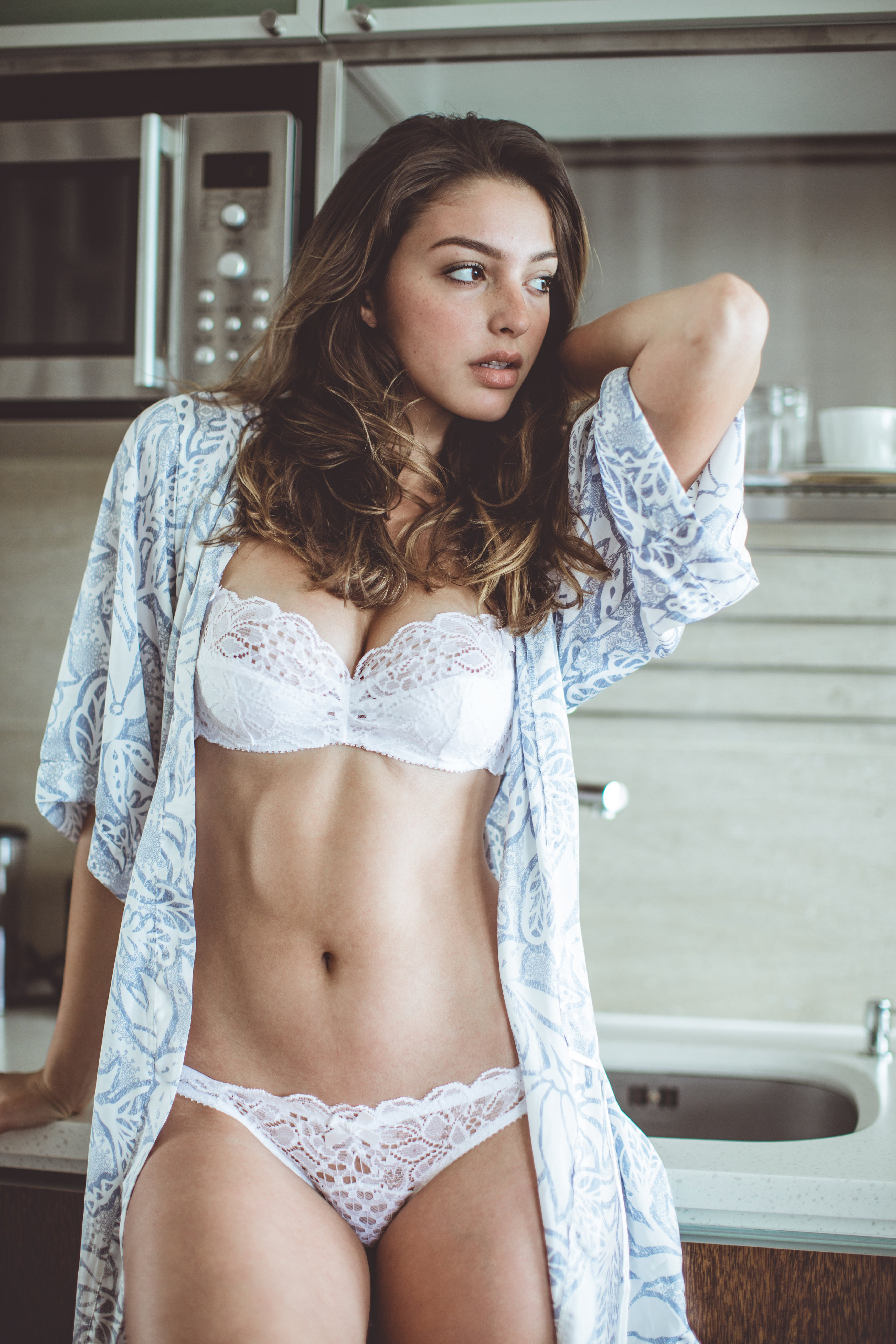 Celine Farach by Dicky Manana photography shaven freckles lingerie Bewbs!