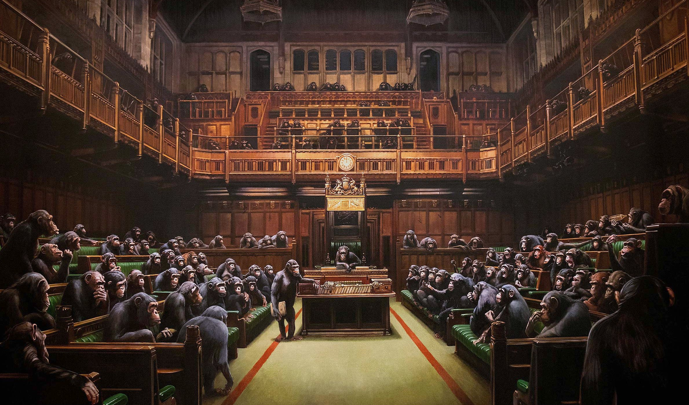 banksy devolved parliament painting 2009