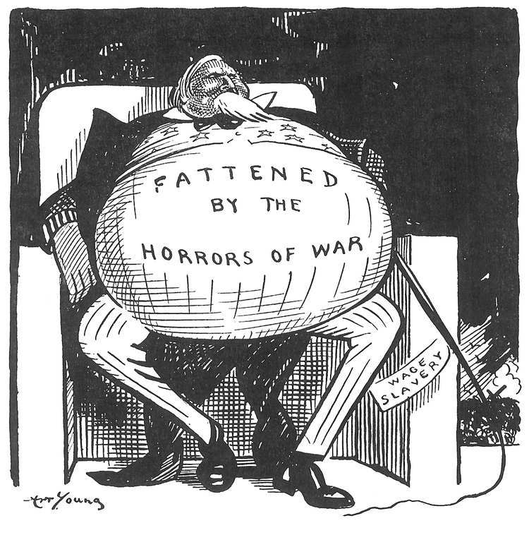 Art Young  The Masses  July 1915 cartoon murica wwI capitalism war bonzen
