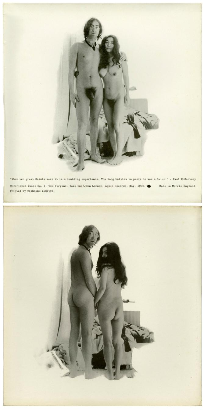 Unfinished Music No.1: Two Virgins 1968 John Lennon & Yoko Ono cover art nude rear ass from behind < bist du...