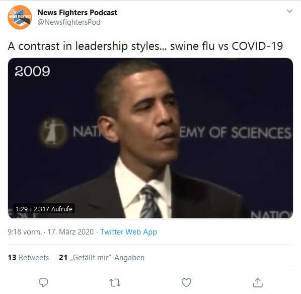 tweet swineflu coronavirus obama fucktard trump s. link