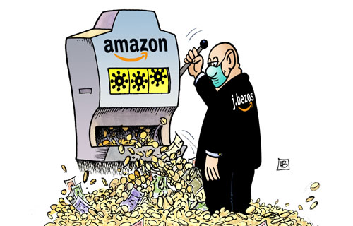 harm bengen cartoon coronavirus amazon bezos #eattherich #fuck idiots capitalism #we#us#theIdiots