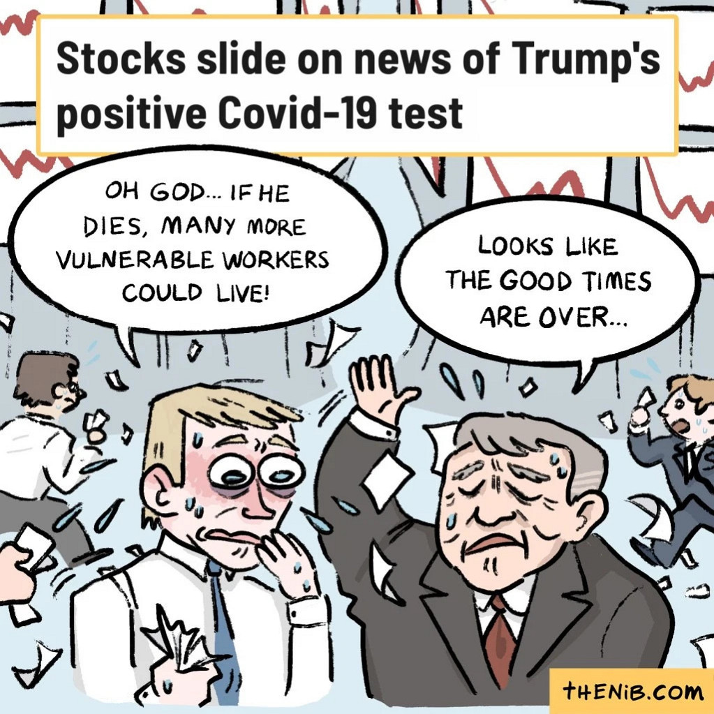 vasquez cartoon stock market capitalism gop  murica fucktard trump superspreader
