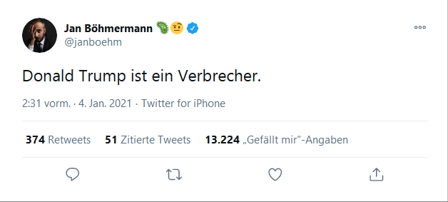 böhmermann tweet fucktard trump FOR nuthouse PRISON